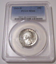 1943 D Washington Quarter MS66 PCGS