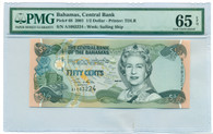 Bahamas 2001 50 Cents Bank Note Gem Uncirculated 65 EPQ PMG