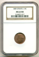Straits Settlements 1889 1/4 Cent MS63 RB NGC
