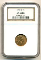 1945 D Lincoln Wheat Cent MS66 RED NGC