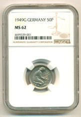 Germany -West- 1949 G 50 Pfennig MS62 NGC