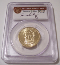 2009 Zachary Taylor Presidential Dollar Missing Edge Lettering Error MS66  PCGS Moy Signed