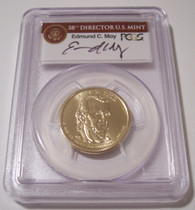 2009 James K Polk Presidential Dollar Missing Edge Lettering Error MS66 PCGS Moy Signed