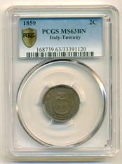 Italy Tuscany 1859 2 Centesimi MS63 BN PCGS