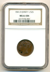 Jersey 1841/0 Overdate 1/52 Shilling MS61 BN NGC