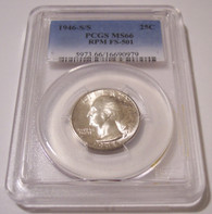 1946 S/S Washington Quarter RPM Variety FS-501 MS66 PCGS