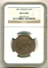 Straits Settlements 1897 Cent AU53 BN NGC