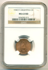 Argentina 1949/9 2 Centavos MS63 RED NGC