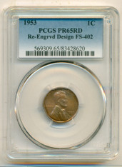1953 Lincoln Wheat Cent Re-Engraved Design Variety FS-402 PR65 RED PCGS