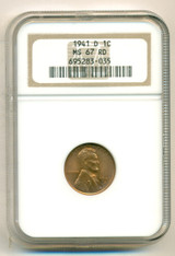 1941 D Lincoln Wheat Cent MS67 NGC