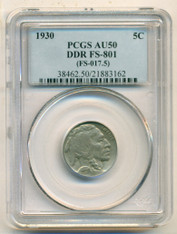 1930 Buffalo Nickel DDR Variety FS-801 AU50 PCGS