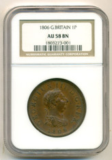 Great Britain 1806 Penny AU58 NGC