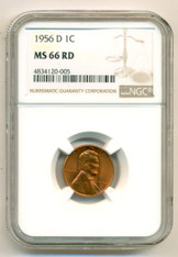 1956 D Lincoln Wheat Cent MS66 RED NGC
