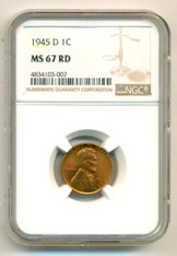 1945 D Lincoln Wheat Cent MS67 RED NGC
