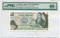Colombia 1979-83 20 Pesos Oro Bank Note Gem Uncirculated 66 EPQ PMG