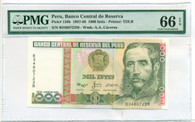 Peru 1987-88 1000 Intis Bank Note Gem Uncirculated 66 EPQ PMG