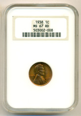 1938 Lincoln Wheat Cent MS67 RED NGC