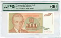 Yugoslavia 1993 5000 Dinara Bank Note Nikola Tesla Gem Uncirculated 66 PMG EPQ