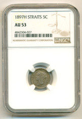 Straits Settlements (Malaysia) Silver 1897 H 5 Cents AU53 NGC