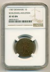 Denmark Schleswig- Holstein 1787 Dreiling XF45 BN NGC