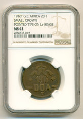 German East Africa 1916 T 20 Heller Brass Small Crown Pointed Tips on Ls MS63 NGC