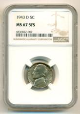 1943 D Jefferson Silver Nickel MS67 5FS NGC