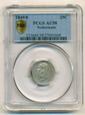 Netherlands Silver 1849/8 25 Cents AU58 PCGS