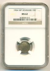 Denmark Silver 1904 VBP 10 Ore MS62 NGC