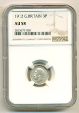 Great Britain Silver 1912 3 Pence AU58 NGC