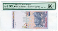 Malaysia 1996-99 2 Ringgit Bank Note Gem Uncirculated 66 EPQ PMG