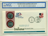 2002 P & D Indiana State Quarters Official First Day Cover MS65/MS66 NGC