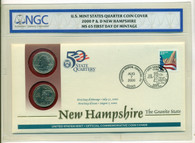 2000 P & D New Hampshire State Quarters Official First Day Cover MS65 NGC