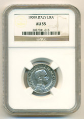 Italy Silver 1909 R Lira AU55 NGC
