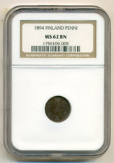 Finland 1894 Penni MS62 BN NGC