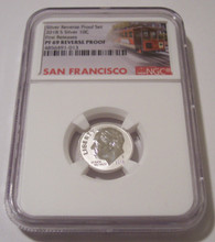 2018 S Silver Roosevelt Dime Reverse Proof PF69 NGC FR Trolley Label