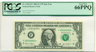 2003 $1 FRB Atlanta Dollar Star Note Gem New 66 PPQ PCGS Currency