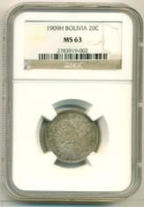 Bolivia Silver 1900 H 20 Centavos MS63 NGC