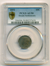 Straits Settlements (Malaysia) Silver 1891 10 Cents AU50 PCGS
