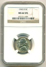 1943 D Silver WW2 Jefferson Nickel MS66 5FS NGC