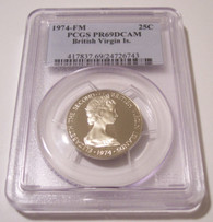 British Virgin Islands 1974 FM 25 Cents Proof PR69 DCAM PCGS