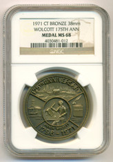 1971 Wolcott CT 175th Anniversary Bronze Medal MS68 NGC