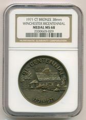 1971 Winchester CT Bicentennial Bronze Medal MS68 NGC