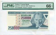 Turkey 1998 250,000 Lira Bank Note Gem Uncirculated 66 EPQ PMG