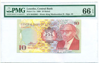 Lesotho 1990 10 Maloti Bank Note Gem Unciruclated 66 EPQ PMG