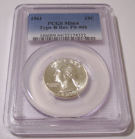 1961 Washington Quarter Type B Reverse Variety FS-901 MS64 PCGS
