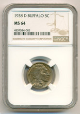 1938 D Buffalo Nickel MS64 NGC