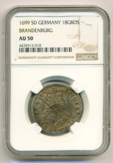 Germany -States Brandenburg- Silver 1699 SD 18 Groscher AU50 NGC