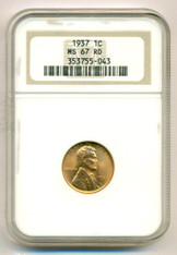 1937 Lincoln Wheat Cent MS67 RED NGC