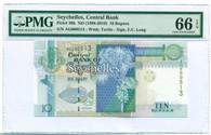 Seychelles 1998-2010 10 Rupees Bank Note Gem UNC 66 EPQ PMG