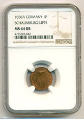 Germany - States Schaumburg-Lippe - 1858 A Pfennig MS64 RB NGC